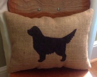 Burlap Golden Retriever Pillow, Golden Retriever, Burlap Pillow, Dog Pillow, Throw Pillow, Farm House Decor, Gift For Him, Gift For Her