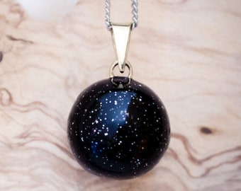 Shiny black pregnancy necklace - Bola Olfée - Pregnant woman - Belly - Baby's development - Musical ball - Pregnancy  necklace - Silver