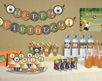 Safari Theme Birthday Jungle Party DIY Printable Package
