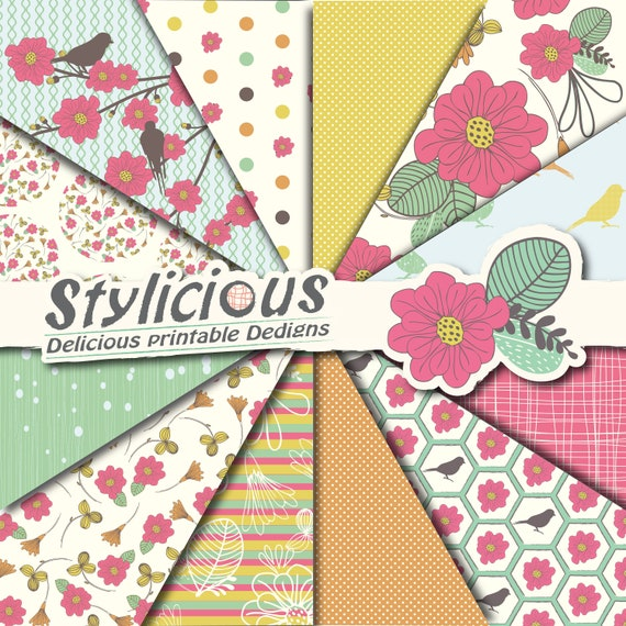 Summer Floral Scrapbook Paper Pack Flowers And Birds Etsy