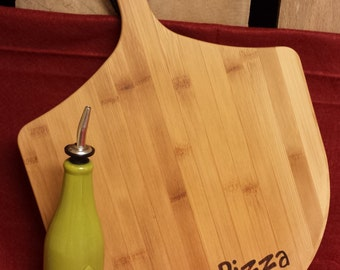 Personalized Bamboo Pizza Cutting Board; Laser Engraved; Customized Wedding Gift; Anniversary Gift; Housewarming Gift; Christmas Gift