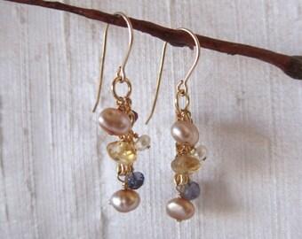 Citrine Pearl 14K Gold Filled Handmade Earrings Iolite