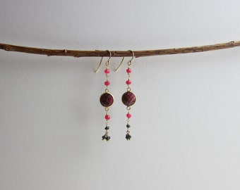 Ruby and Black Spinel 24K Gold Plated Dangle Earrings