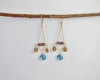 Blue Topaz, Citrine, Garnets 14K Gold Handmade Chandelier Earrings