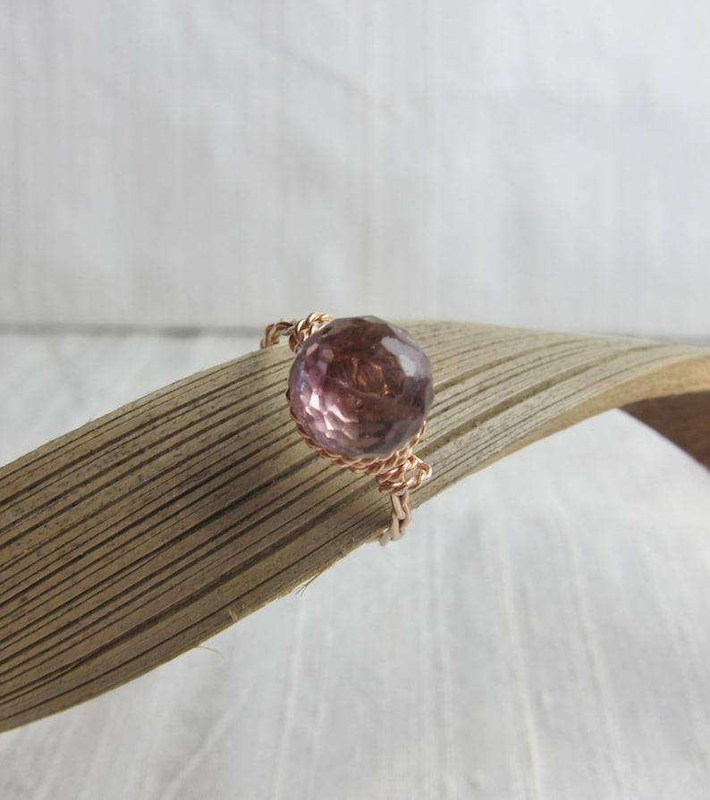 Ametrine 14K Rose Gold Filled Handmade Gem Wrapped Ring