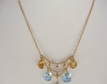 Green Amethyst Pendant, Blue Topaz, Citrine, Pearl Handmade Necklace with 14K Gold Chain