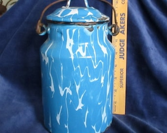 Blue and White Enamelware Cream Can With Vintage Chippiness for Farmhouse Decor