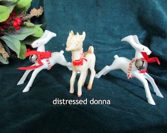 Vintage Reindeer - Set of Three Plastic Reindeer - 1950's - Vintage Christmas