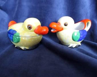 Handpainted Duck Cream and Sugar - Made in Japan Vintage