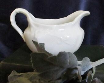 O.P.CO White China Cream Pitcher or Gravy Boat Vintage Ohio Pottery
