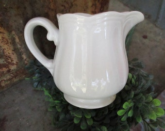 Federalist Ironstone White Cream Pitcher - Vintage - Made In Japan