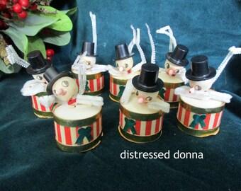 Little Drummer Snowmen - Vintage 1950's Cardboard Christmas Ornaments - Set Of Seven