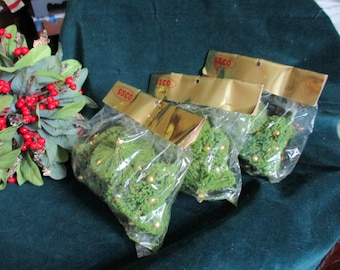 Bottle Brush Bells - Christmas Ornaments - New In Bag Old Stock -Three Bags of Three - Vintage 1950's