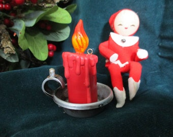 Vintage Lady Elf With Her Candle - Vintage Christmas - Holiday Vignette
