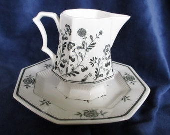Independence Ironstone Creamer With Plate Vintage Black and White Made in Japan