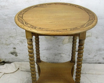 Edwardian Coffee Side Wine Table Round Ornate Hand Carved Wood Bobbin Two Tier