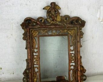 French antique Hanging Bronze Brass picture frame Ornate Angel Cherub