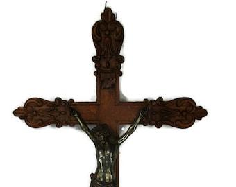 French Fleur de Lis Large Hand Carved Oak Hanging Crucifix Cross Jesus Christ