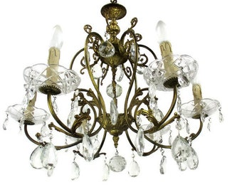Brass Ornate Chandelier 6 Arms Lights Prisms Waterfall Hollywood Regency Empire
