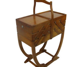 Other Antique Furniture Hard-Working 1970s Mid-century Sewing Table Utensilo Basket Box Rockabilly 6 Other Reproduction Furniture