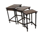 3 Vintage Barley Twist Nesting Side Stacking Tables Hand Carved Wood Barn Country Farmhouse Style