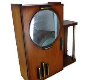 Bauhaus Jahrgang Medizin Wand Küchenschrank Apotheker Runde Spiegel Art Deco