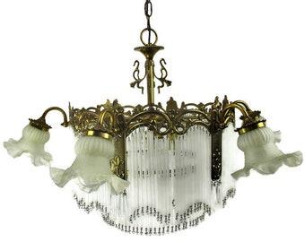 Böhmische Spanisch Revival Kronleuchter Stroh Prismen 7 Lichter Verzierten  Messing Modernist