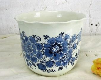 Delft planter etsy delft blue vintage planter flower pot ceramic blue white royal distel holland mightylinksfo