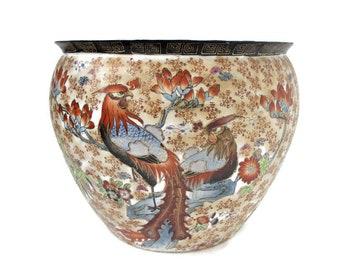 Vintage Japanese Moriage Koi Fish Bowl