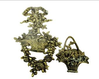 Vintage Brass Furniture Trim Ornate Hardware Mounts Floral Leaf Design Lot Of 2 Antiques Architectural & Garden