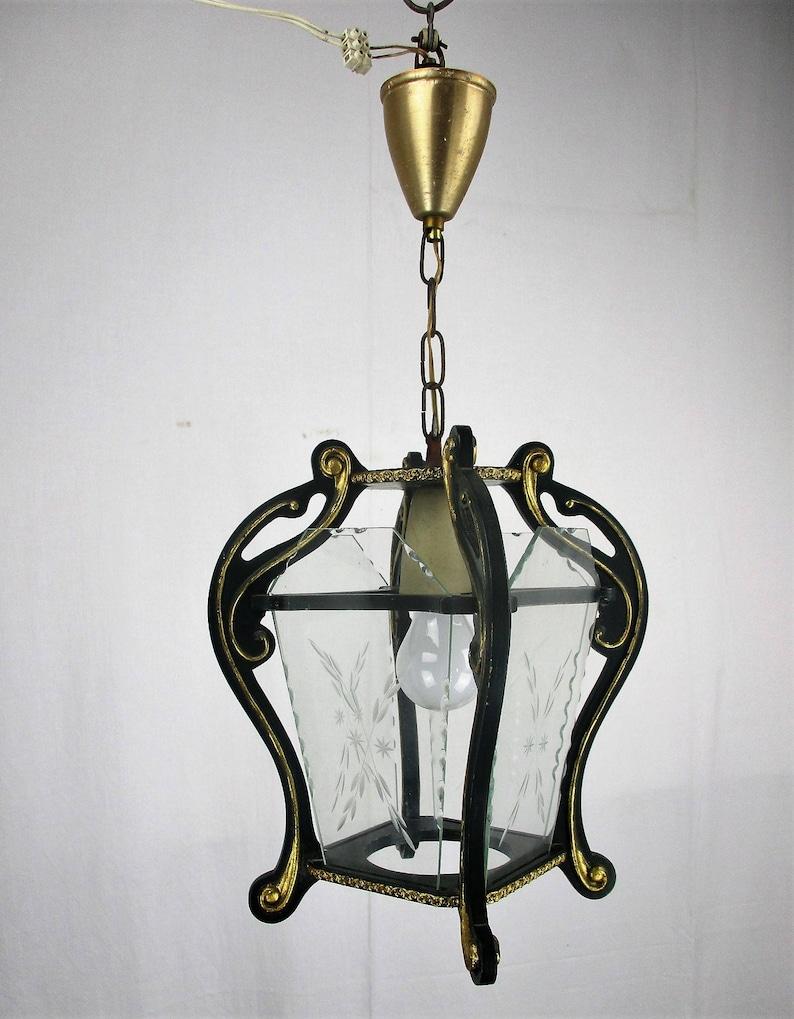 Vintage Florentine Wood Lantern Ornate Etched Glass Chandelier Pendant HTF