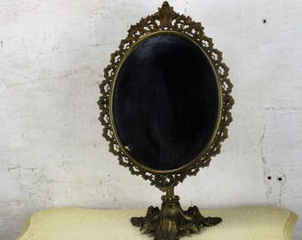 Ornate Brass Standing Adjustable Swivel Makeup Vanity Mirror Rococo Victorian