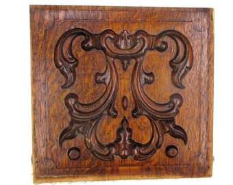 Small Vintage Hand Carved Wooden Wall Panel Plaque Reclaimed Salvage