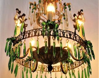 Art Nouveau Antique 3 Tier Wedding Chandelier Green Prisms 1900 Brass bronze