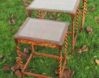 Antique Barley Twist Nesting Side Tables Rush Glass Table Tops Gorgeous