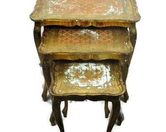 Set of 3 Italian Florentine Hollywood Regency Wood Stacking Nesting Tables