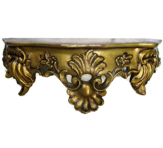 wholesale dealer 75e80 9f3fd Small Ornate Wall Mounted Console Shelf Gold Plaster Hollywood Regency  Corbel