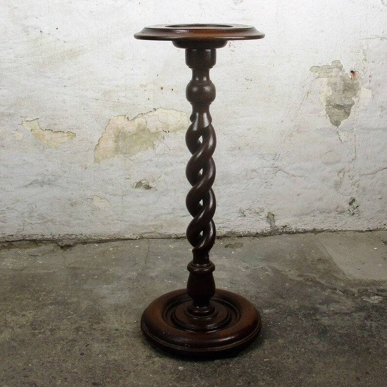 Hand Carved Wood Open Barley Twist Pedestal Display Side Table Plant Stand 24.6