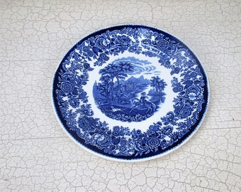 Petrus Regout Maastricht Holland Plate Amazone Blue White Hound