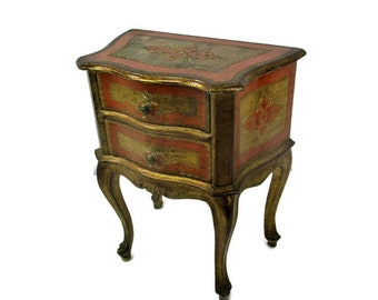 Florentine Wood Nightstand End Table Hall Cabinet Chest of Drawers Gold Orange Retro