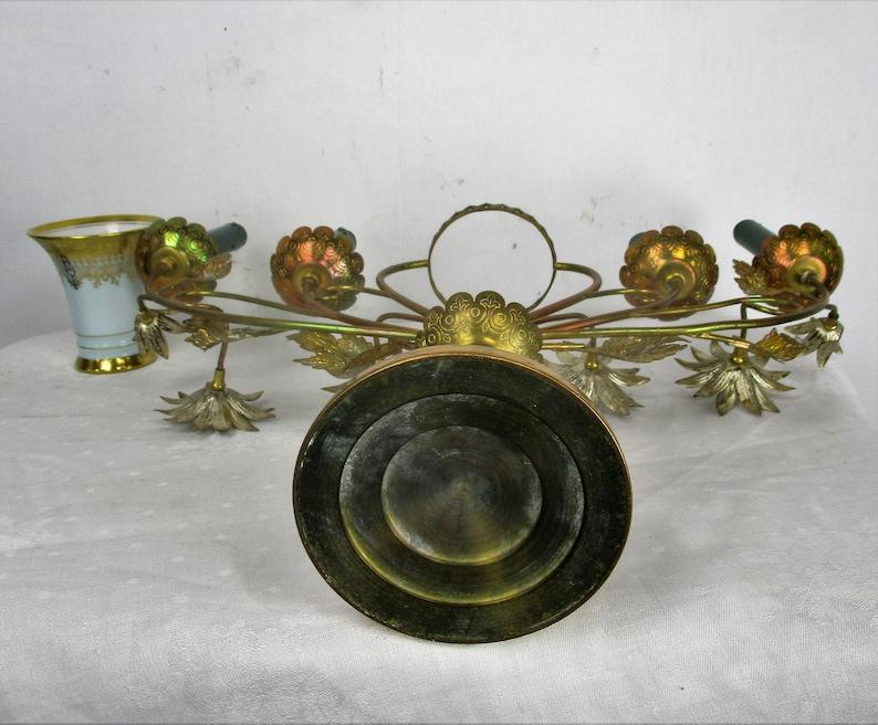 Brass Hollywood regency Floral Candle Holder Candelabra 4 arm Karlsbader Planter