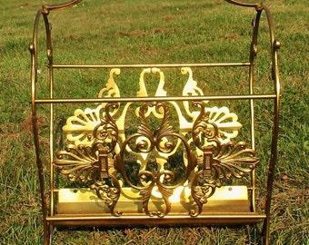 Brass Ornate Magazine Newspaper Basket Hollywood Regency style
