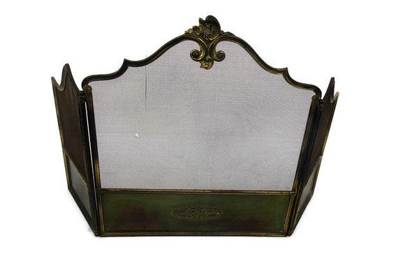 Fireplace Screen Spark Guard Brass Ornate Hollywood Regency Etsy