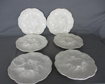Set of 6 Oyster Plates Porcelain White Stylish Vintage Seafood Plates