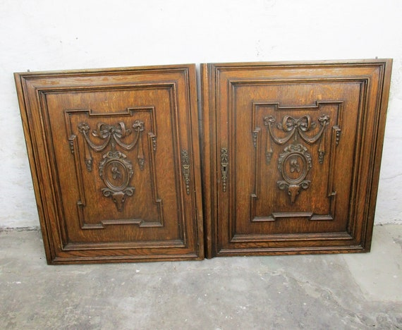 Pair Carved Wood Oak Kitchen Cabinet Doors Panels Reclaimed Etsy