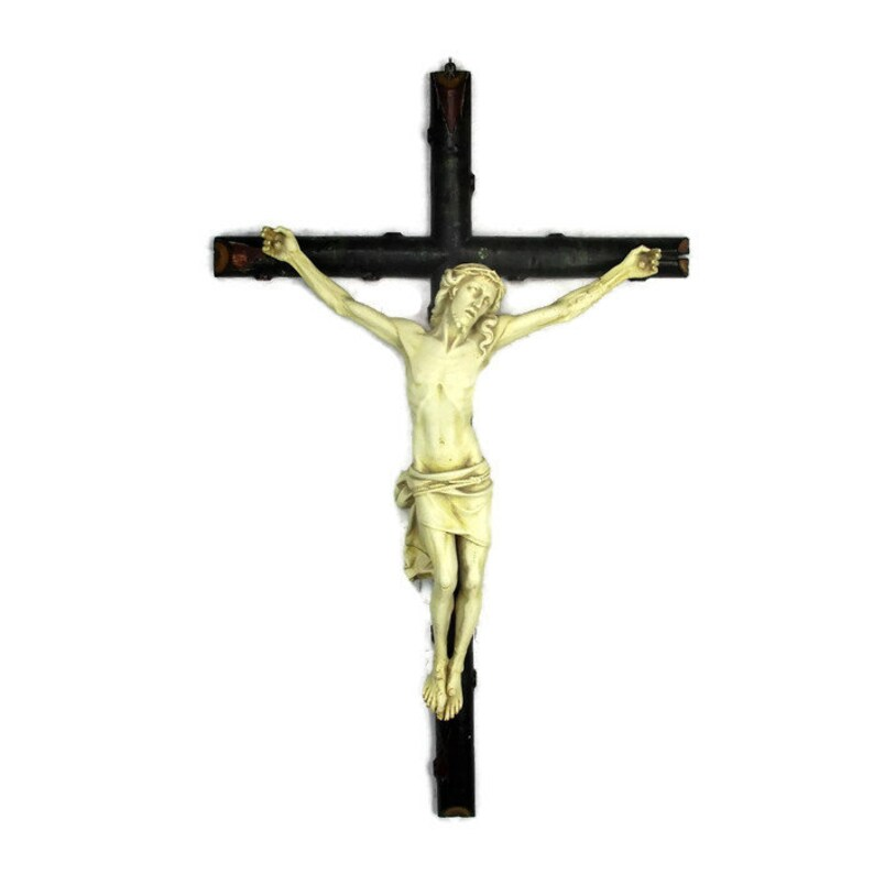 Antiue Gothic Art Crucifix Hanging Wall Chapel Crucifixes & Crosses