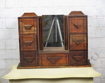 Vintage Retro Kitchen Medicine Cabinet Apothecary Mirror Inlay 7 drawers