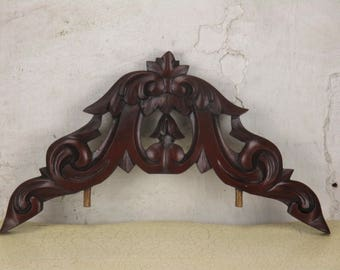 """Small Carved Reddish Wood Pediment Overdoor Architectural 18.5"""""""