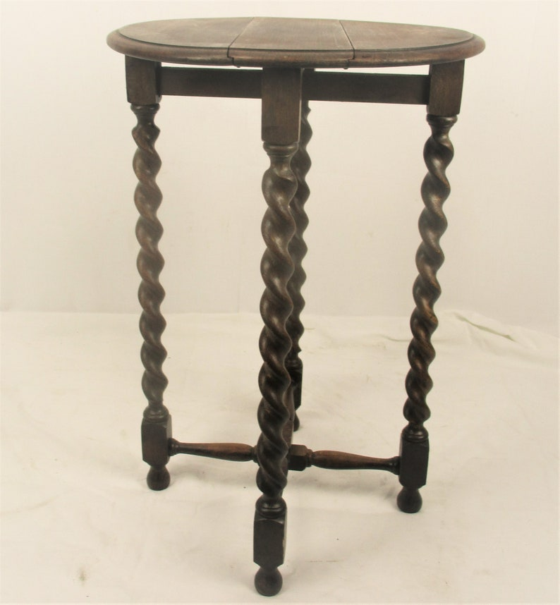 Barley Twist Wood Side Occasional Wine Coffee Tea Table Pedestal Plant Stand pliable