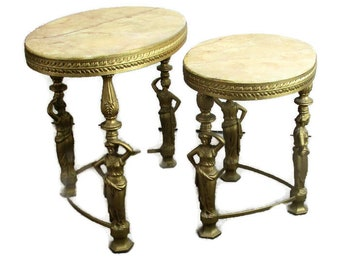 Two Nesting Stacking Side Tables Hollywood Regency Marble Top Female Figurines